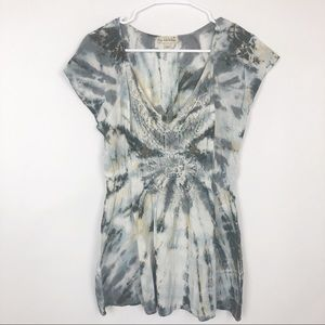 Live and Let Live tie dye lace tunic top S